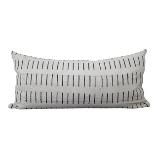 1960s Mid-Century ModernWhite Mudcloth Lumbar Pillow Cover For Sale