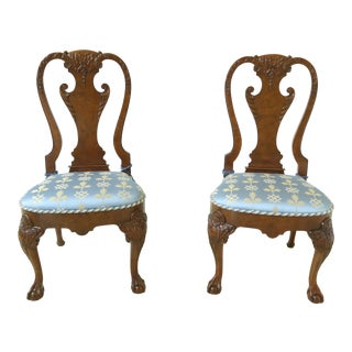 Pair Baker Stately Homes Walnut Clawfoot Sidechairs For Sale