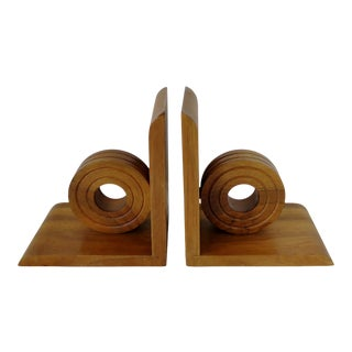 Vintage Oak Wood Bookends, a Pair For Sale