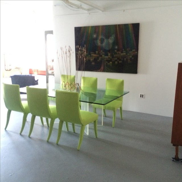 Mid Century Lime Dining Chairs - Set of 6 - Image 8 of 9