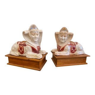 Glazed Terra Cotta Sphinx Sculptures - a Pair For Sale