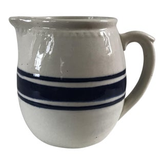 Cobalt Blue Stripe Weller Stoneware Pitcher For Sale