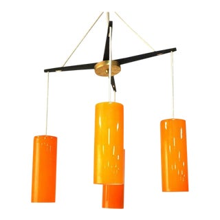 Holmegaard Four-Light Yoke Chandelier with Orange Glass Shades