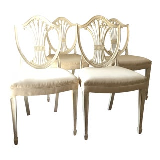 Hepplewhite Off White Shield Back Dining / Side Chairs - Set of 4 For Sale