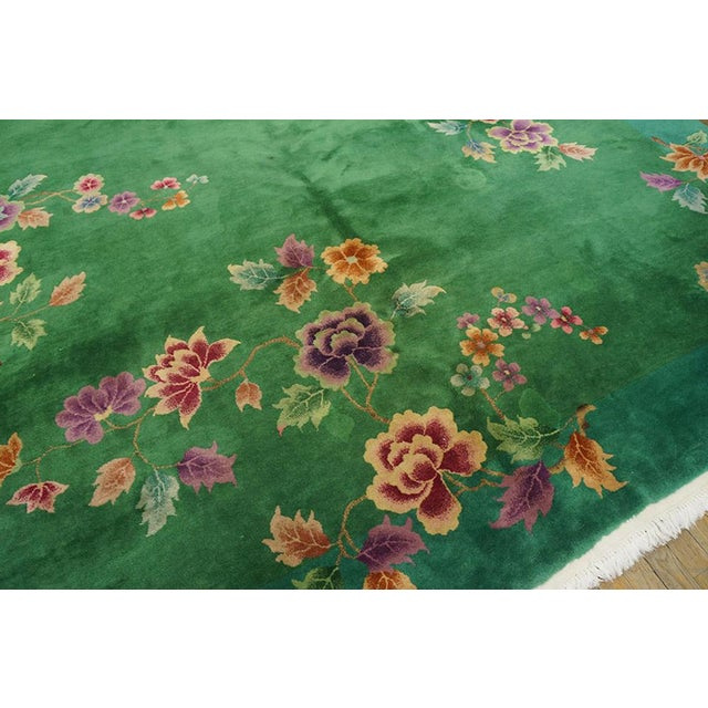 """Chinese Art Deco Green Rug - 8'8""""x11'4"""" For Sale - Image 4 of 7"""