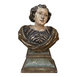 18th Century Italian Polychrome Bust of Saint For Sale