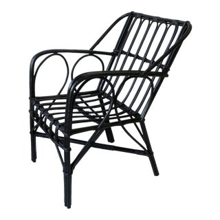 Vintage Black Wicker Rattan Armchair For Sale