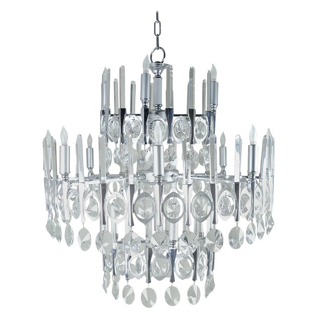 Gaetano Sciolari Large Three-Tier Modernist Crystal Chandelier, Italy, 1960s For Sale