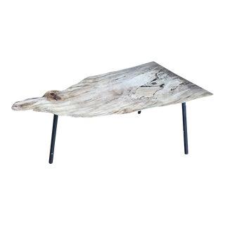 Primitive Spalted Maple Slab Wood Side Table For Sale