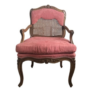 Vintage Mid Century French Caned and Upholstered Chair For Sale