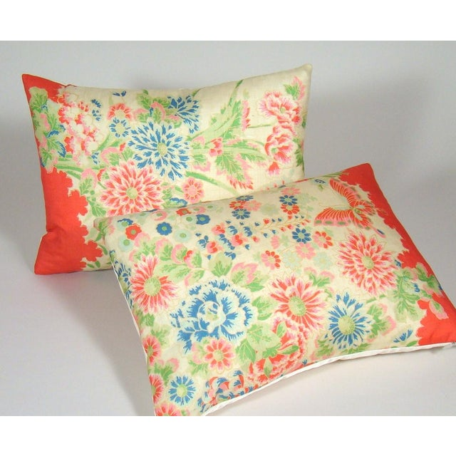 Red Chinese Silk Floral Lumbar Pillow Cover For Sale - Image 8 of 9
