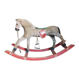 Antique American Carved & Painted Early Rocking Horse For Sale