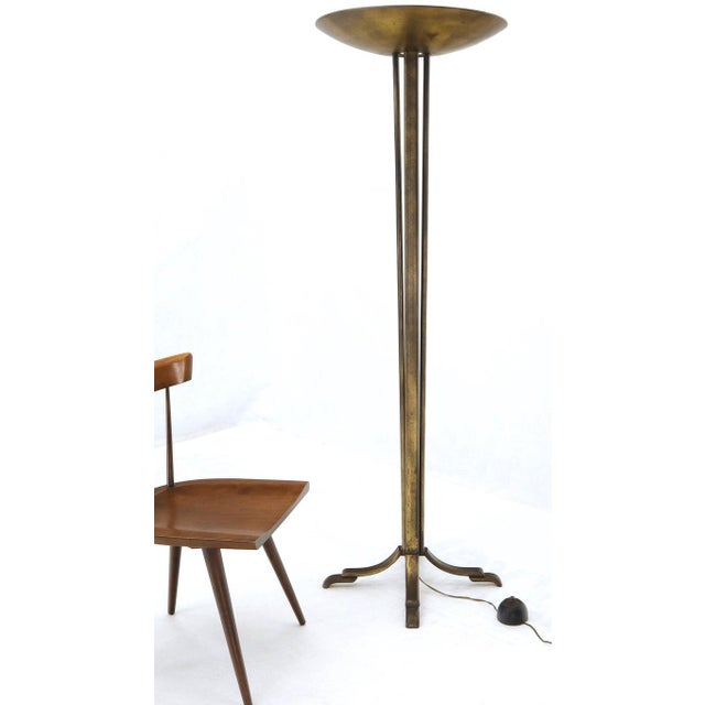 Late 20th Century Cross Base 68 Tall Metal Dish Shade Floor Lamp For Sale - Image 5 of 13