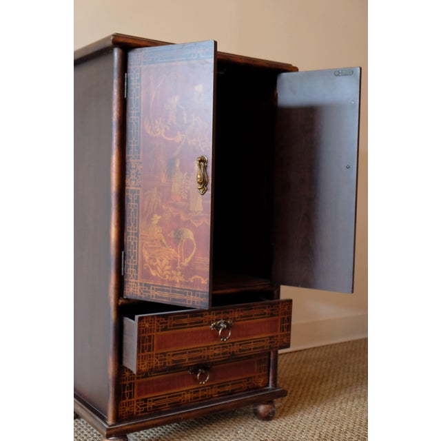 Chinoiserie Vintage Chinese Scene Chest, With 2 Drawers For Sale - Image 3 of 7