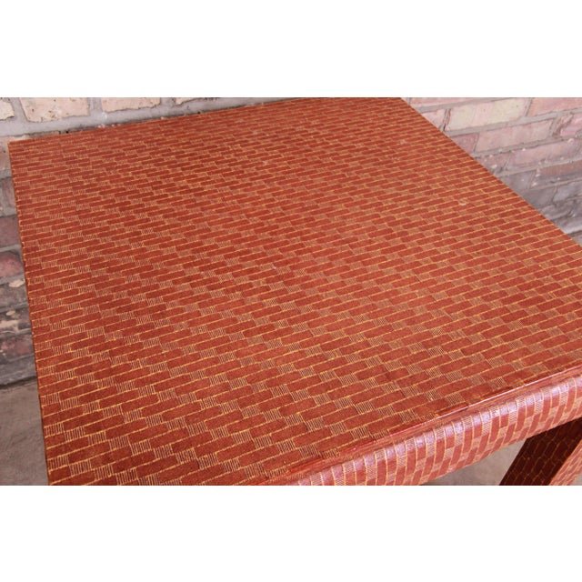 Baker Furniture Mid-Century Hollywood Regency Red Lacquered Grass Cloth Side Table For Sale - Image 10 of 12
