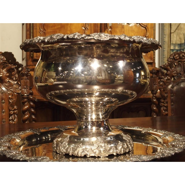 Metal A Circa 1900 Silver Plated Punch Bowl and Tray For Sale - Image 7 of 11