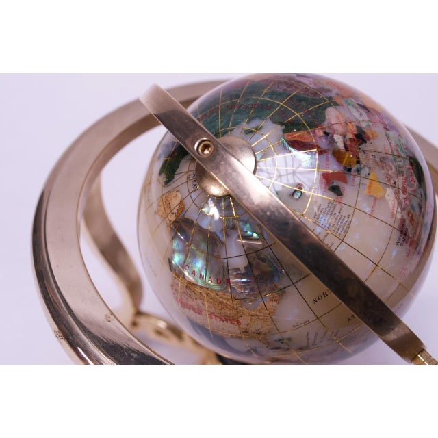 Contemporary Petite Desk Globe in Brass, Gemstones, and Mother of Pearl For Sale - Image 9 of 13