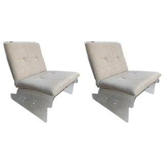 Vintage Baumann Lucite Slipper Chairs- A Pair For Sale