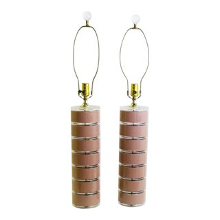 Modern Optique Lucite Pink and Clear Disks Table Lamps - Pair For Sale