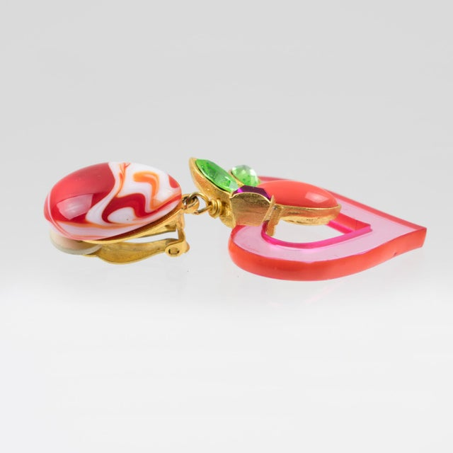 Christian Lacroix Paris Jeweled Pink Resin Heart Dangling Clip on Earrings For Sale In Atlanta - Image 6 of 7