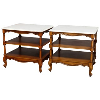Vintage French Style Mahogany Marble Top End Tables - a Pair For Sale