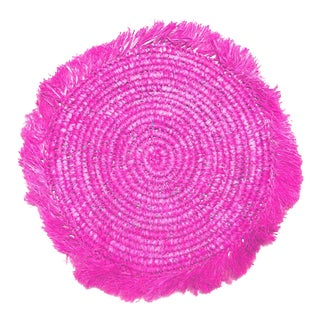 Tropical Jungle Woven Raffia Placemats, in Hot Pink - Set of 4 For Sale
