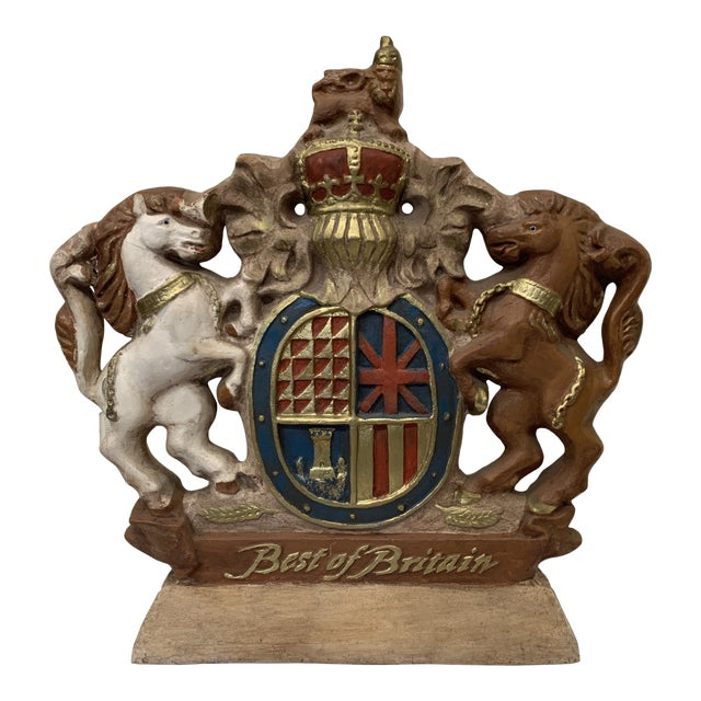 Large Scale British Coat of Arms Sculpture For Sale