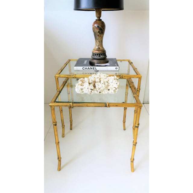 Mid 20th Century Italian Gold Gilt Bamboo and Glass Nesting or End Tables, Set of 2 For Sale - Image 5 of 12