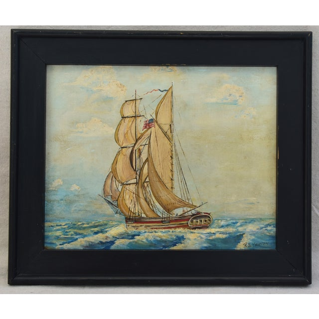 Framed 1940s Sailing Ship Oil Painting - Image 11 of 11