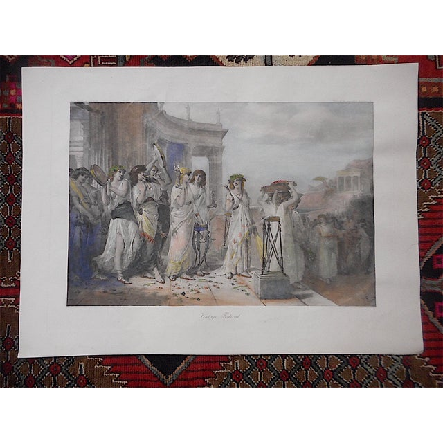 This monumental double elephant folio hand colored lithograph depicts a festival celebrating the grape harvest and wine...