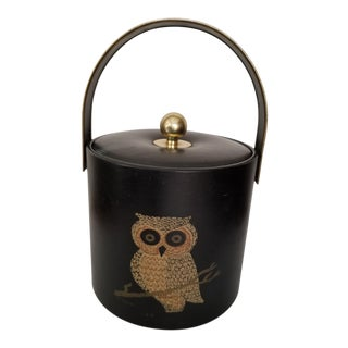 Couroc Hollywood Regency Owl Black Vinyl Brass Handle Ice Bucket For Sale