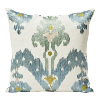 Schumacher Double-Sided Raja Embroidery Silky Print Pillow For Sale