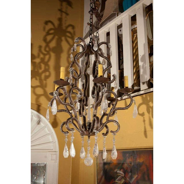 Rock crystal chandelier with six lights.