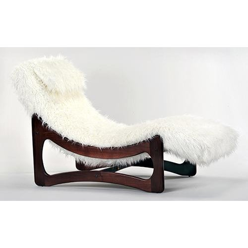 White Mongolian Faux Fur Chaise Lounge - Image 3 of 6