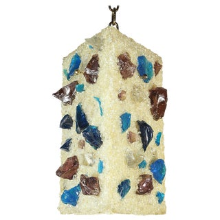 Mid-Century Pendant Lamp of Fiberglass With Embedded Chunks of Blue and Brown Glass For Sale