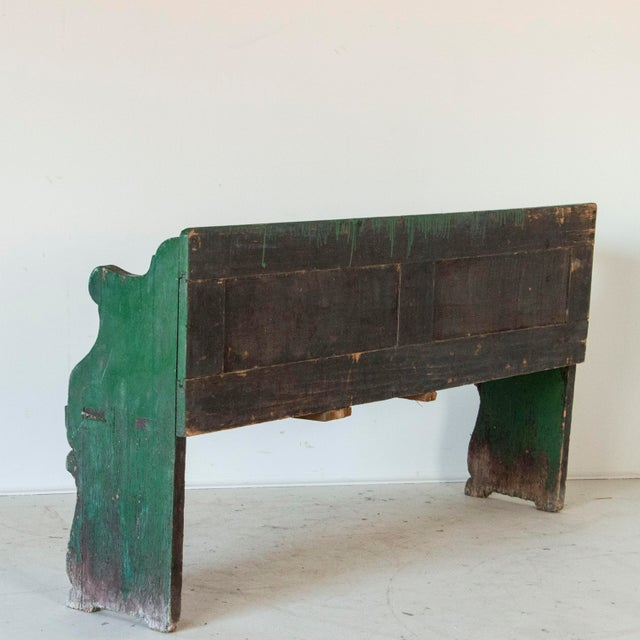 Farmhouse Mid 19th Century Antique Original Green Painted Pine Bench For Sale - Image 3 of 5
