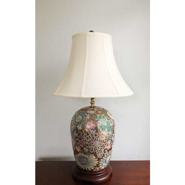 Heywood-Wakefield Vintage Chinoiserie Gold Enameled Ginger Jar Table Lamp For Sale - Image 4 of 8