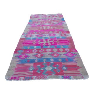 Vintage Turkish Kilim Runner With Geometric Shapes and Colorful Stripes 4′10″ × 9′9″ For Sale