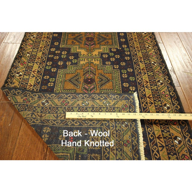 "Navy & Tan Balouch Runner Rug - 2'11"" x 9'9"" - Image 10 of 10"