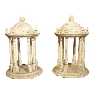 Pair of Antique Carved and Painted Wooden Grand Tour Temple Models, 19th Century For Sale