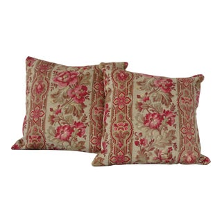 19th Century French Floral & Ticking Pillows - A Pair