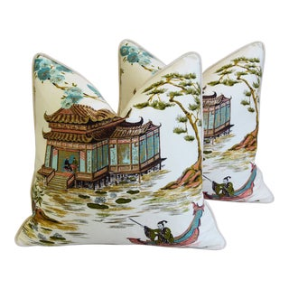 "Chinoiserie Asian Silk & Velvet Tea House Feather/Down Pillows 22""- Pair For Sale"