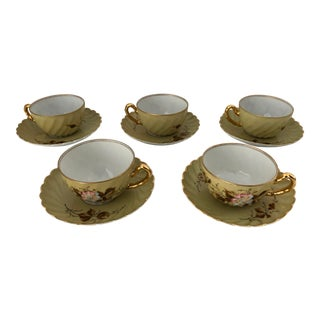 Vintage Hand Painted Floral Small Tea/ Demitasse Cups & Saucers S/5 For Sale