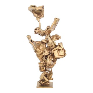 Abstract Twisted Metal Flakes Sculpture For Sale