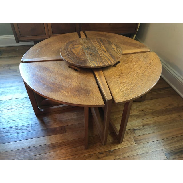 Mid-Century Modern Handmade Oak Coffee Table Chair Set For Sale - Image 9 of 9