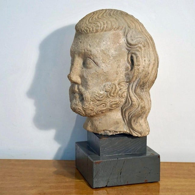 Vintage Medieval Limestone Bust For Sale - Image 4 of 10