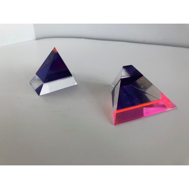 Pink Pair of 1980's Multi -Colored Acrylic 3-D Trapezoids - Signed Ashley Style of Vasa For Sale - Image 8 of 13