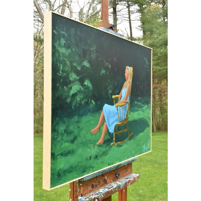 Blue Painting of a Woman Sitting in a Rocking Chair Outside For Sale - Image 8 of 12