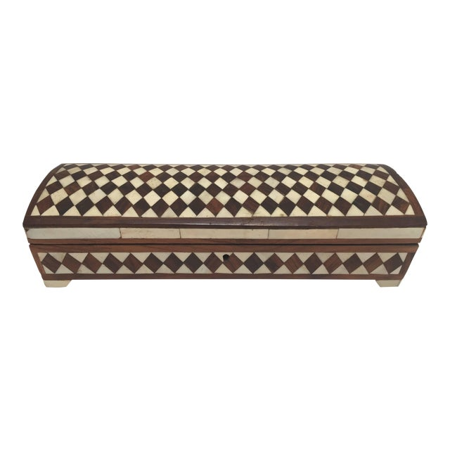 Vizagapatam Anglo-Indian Rectangular Box Inlaid With Bone and Sandalwood For Sale