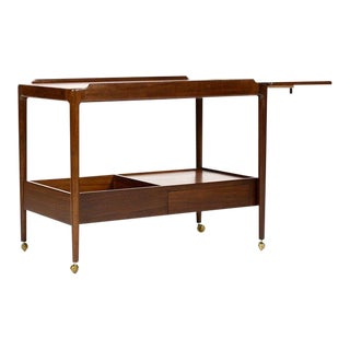 Danish Modern / Mid-Century Teak + Mahogany Drop Leaf Bar Cart / Tea Service — IB Kofod Larsen for G-Plan For Sale